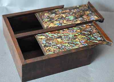 Ancient Royal Old Collectable Handwork Boxwood Inlay Shell Precious Jewelry Box