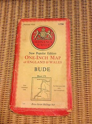 Vintage Ordnance Survey OS map - 1940s - sheet 174 Bude