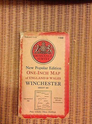 Vintage Ordnance Survey OS map - 1940s - sheet 168 Winchester