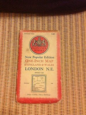 Vintage Ordnance Survey OS map - 1940s - sheet 161 London N.E.
