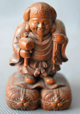 Collectable Old Antiques Boxwood Handwork Carve Buddha Hold Fortune Royal Statue