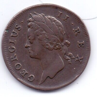 1736 Irish Copper Halfpenny Coin George III Ireland Eire