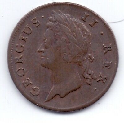 1741 Irish Copper Halfpenny Coin George III Ireland Eire