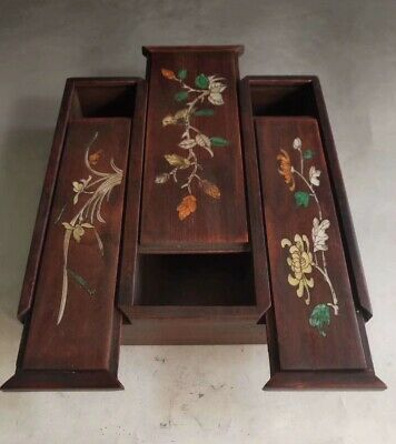 Ancient Boxwood Inlay Conch Hand Carve Beauty Flower Old Royal Rare Jewelry Box