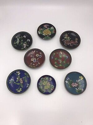 A Group Of 8 Chinese Cloisonne Small Plates Dishes