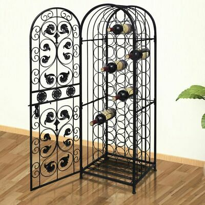 New Metal Wine Storage Cabinet Wine Rack Stand Display Organizer 45 Bottles R0W3