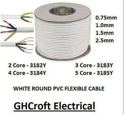 White Round Flex 3183Y Cable 2 3 4 5 Core 0.75Mm 1.0Mm 1.5Mm 2.5Mm - Multibuy
