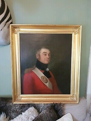 Antique Georgian Oil Painting fine English military officer portrait 1807