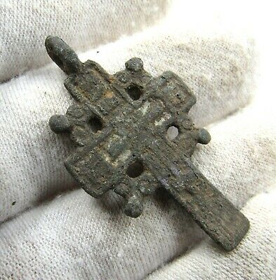 Authentic Late Medieval Era Bronze Radiate Cross Pendant - Wearable - J288