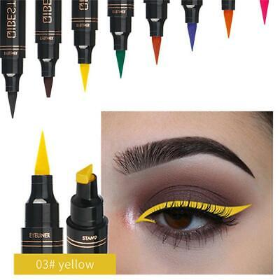 Long-lasting Double-headed Liquid Eyeliner Pen Colorful Shapes Stamp Seal