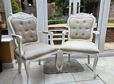 French Louis XV Style Pair Of Chairs Beige Fabric Button Back Armchairs Vintage