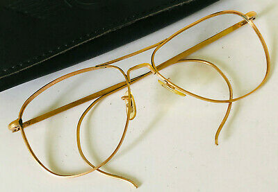 VTG American Optical AO 12K GF Gold Aviator Eyeglasses/Sunglasses 63T Wire Frame