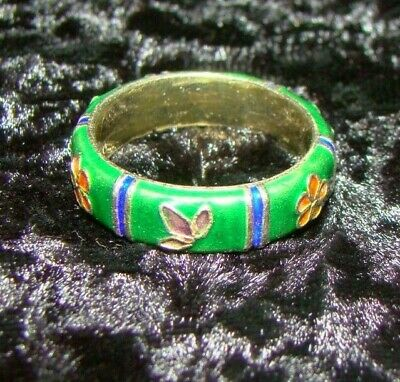 Vintage Antique Chinese Export Enamel Sterling Silver Ring Sz 7