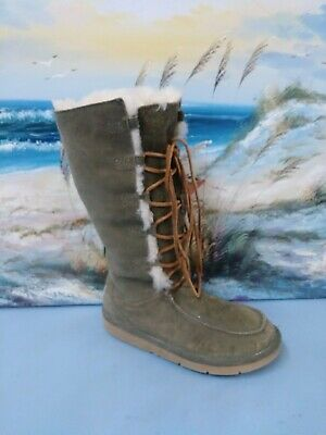 7ad5011f41a UGG BOOTS WHITLEY Tall Lace Up Womens Sz 8 M Two Toned Mocha/Sand ...