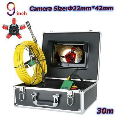 "9"" Industrial Drain Pipe Sewer Video Camera 22mm 30M IP68 6W LED Lights 1000TVL"