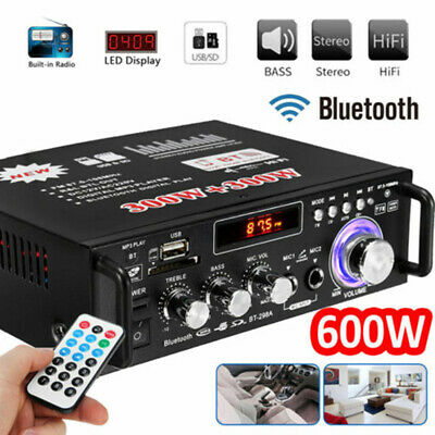 600W Digital HIFI bluetooth Stereo Audio Amplifier SD FM Mic Car Home Durable