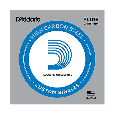 1 x D'Addario PL016 Single Plain Steel .016 Acoustic or Electric Guitar String
