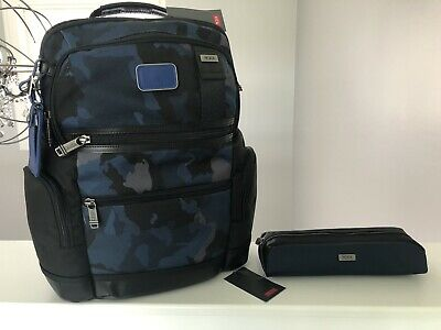 2 Pc Set By Tumi Backpack Black/Navy Camo Plus Separate Tumi Travel Cord Pouch