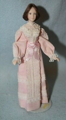 Woman With Pink Dress Doll, Porcelain, The Doll Lady-Dollhouse Miniature
