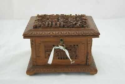 19Th Chinese Canton Sandalwood Deep Hand Carved Box Case Key Signed By Artist