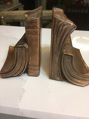 Vintage Philadelphia Copper Metalware PM Bookends Books Library Metal Heavy