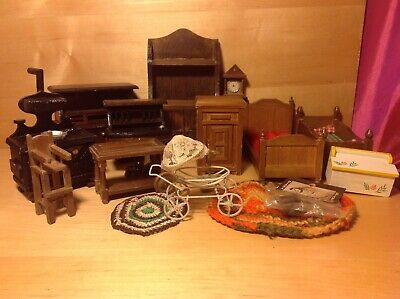 Vintage miniatures dollhouse furniture repair lot beds stove desk rugs toybox