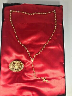 Early 20th Century European Gold Wash 800 Silver Filigree Rosary and Pill or Ros