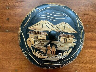 Inlaid Bamboo Round Bowl with Lid - Japanese?