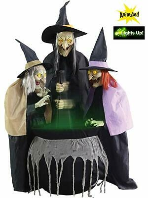 Halloween Animated LifeSize Witch Sisters & Cauldron Haunted House Light Up Prop