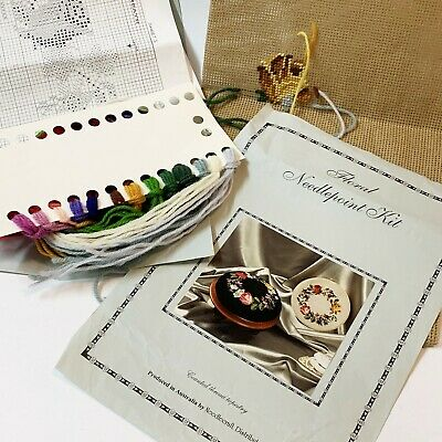 Rose Floral Needlepoint Kit, Counted Thread Tapestry - 10% Part Worked