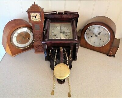 Job Lot Vintage Art Deco and Later Mantel & Wall Clocks for Spares or Repair