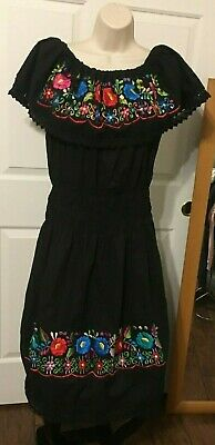 6f0b110cd7216 Women Large Embroidered Dress Black Mexican Cotton Peasant Handmade Off  Shoulder