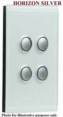 Clipsal SATURN GRID & PLATE ASSEMBLY 4-Gang Switch/Push Button HORIZON SILVER