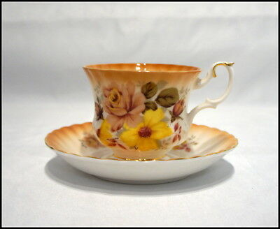 Royal Albert Tea Cup and Saucer Radiance Series Floral Degin Gold Trim #101