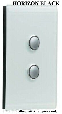 Clipsal SATURN GRID & PLATE ASSEMBLY 2-Gang Switch/Push Button HORIZON BLACK