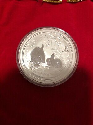 Perth Mint 2011 Lunar year of the Rabbit 2oz Pure Silver Bullion Coin in Capsule