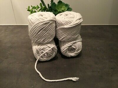 4 mm : Macrame Rope White White  Cotton Twisted Cord