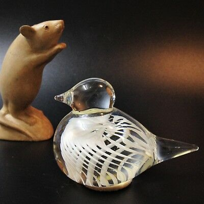 Art Glass Bird Paperweight,  White Optic Spiral in Clear, 7.5cm Tall, 405gms