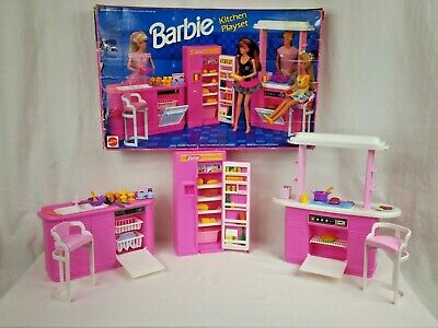 1992 Vintage Barbie Kitchen Playset 7472 Mattel Stove Dishwasher Refrigerator