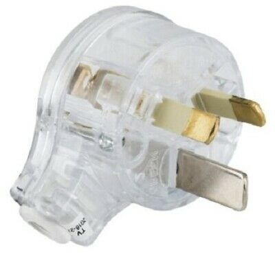 Clipsal REWIREABLE PLUG 15A 230V 3-Pin Safety Large Earth,Side Entry TRANSPARENT