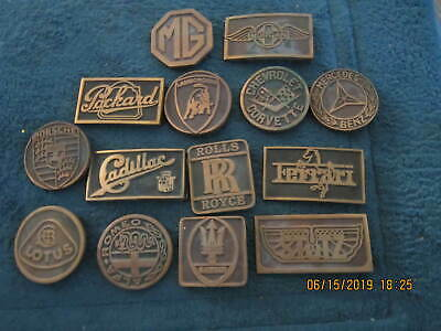 vintage 70s ub automoble brass belt buckles lot of 14 mercedes porsche maserati