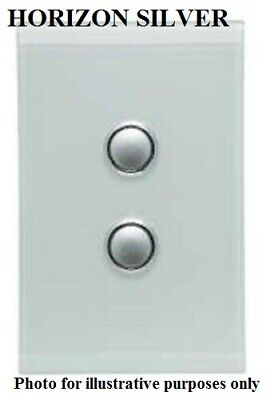 Clipsal 4000-SERIES SATURN SWITCH COVER 2-Gang Vertical HORIZON SILVER*AUS Brand