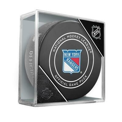 New York Rangers Inglasco NHL Official Game Puck In Case