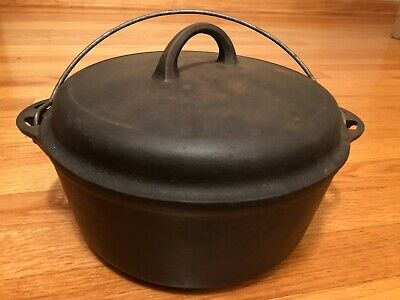 Griswold #8 Tite-Top Cast Iron Dutch Oven 1278 C & Self Basting Lid with Handle