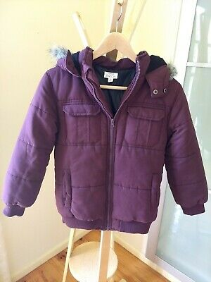 *Pumpkin Patch* Kids Hooded Puffer Jacket, Size 9, Plum, Fully lined