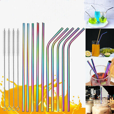 5/10x RAINBOW Metal Drinking Straws Stainless Steel Reusable Bar + Cleaner Brush