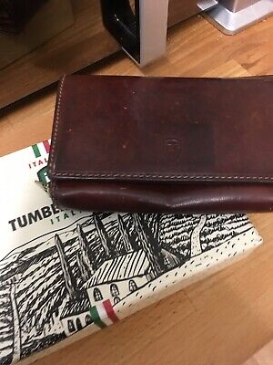 Vintage Tumble And Hide Ladies Wallet Purse In Brown Robust Italian Leather