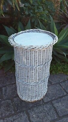 Large  VINTAGE WHITE cane basket with LID *SHABBY CHIC*BOHO*COASTAL