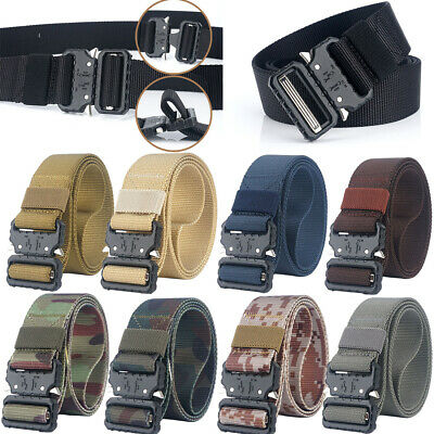 Mens Military Nylon Belts Quick Release Buckle Webbing Tactical Army Waistbands