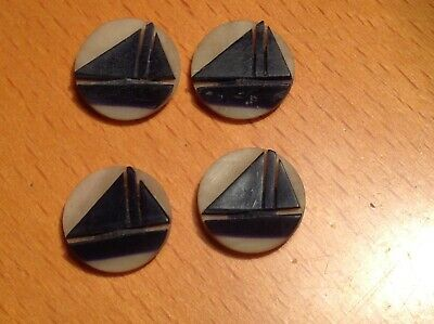 Four Very Early Antique/Vintage Celluloid Buttons With Sailing Boat Design.